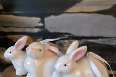 Hängehasen Keramik Weiß
